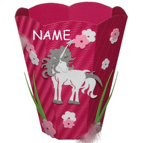 Bastelset Papierkorb – Einhorn Mülleimer rosa Mädchen – incl. Namen online bestellen