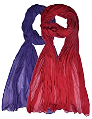 Womens Cottage Combo Pack Of 2 Chiffon Dupatta Red & Purple