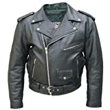 Men's Black Genuine Cowhide Solid Leather Motorcycle Biker Jacket. Sizes 28 To 68 by Allstateleather