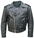 Men's Basic motorcycle jacket split cowhide Leather w/ cell phone pocket by NYC Leather Factory Outlet