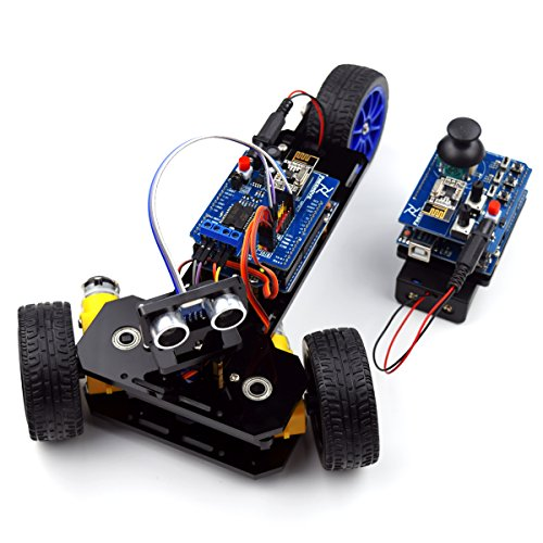 Adeept Three-wheeled Smart Car Kit for Arduino Robot with 2PCS UNO R3 Ultrasonic Obstacle Avoiding, 2.4G Wireless Remote Control (Obstacle Avoiding Robot compare prices)