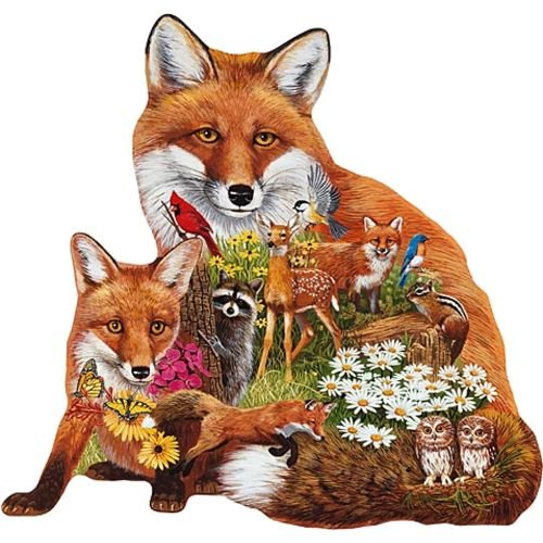 Bits and Pieces Shaped Jigsaw - Forest Foxes