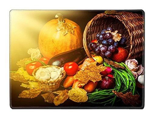 Liili natural rubber Placemat IMAGE ID: 21341935 Beautiful autumn harvest of vegetables and leaves on black background with sun light (Toddler Sun Har compare prices)