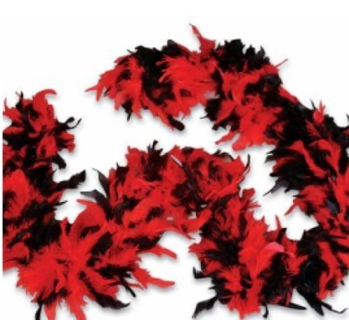Red and Black Feather Boa - 1