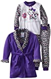 Baby Bunz Girls 2-6X Toddler Purrfect 3 Piece Robe And Pajama Set