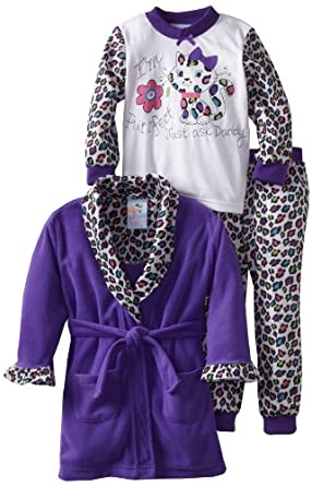 Baby Bunz Girls 2-6X Purrfect 3 Piece  Pajama Set, Dark Purple, 6
