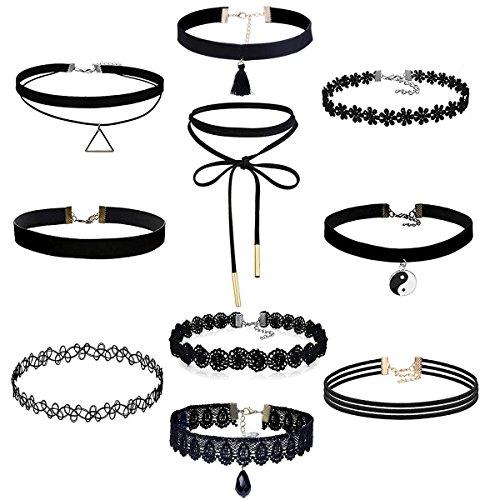 10-stuck-choker-halsketten-set-velvet-spitze-tattoo-halsketten-stretch-elastische-tassel-ketten-schw