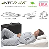 "Wedge Pillow for Acid Reflux (32""x24""x7"") with Allergen Cover - Folding Pillow includes a Fitted Allergen Barrier Cover, Zippered Poly-Cotton Folding Cover and Quality Carry Case. Recommended by Dr. Mike Roizen as a Reflux and Snoring Solution"