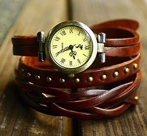 Jirong Vintage Style Chocolat Bracelet en cuir Wrap Watch, Rivet Montre-bracelet de montre de la main des femmes SL2279