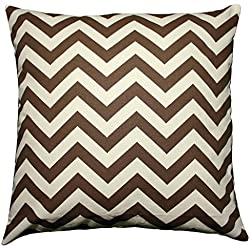 JinStyles® Cotton Canvas Chevron Striped Accent Decorative Throw Pillow Cover (Brown & Ivory Beige, Square, 1 Cushion Sham for 18 x 18 Inserts)