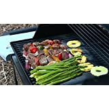 Koramzi BBQ Mat Grill Mat Heavy Duty Reusable 2 Sets 15.75in X 13 Best in BBQ Accessories For Grilling - No Fall Through, No Flame Ups, Non-Stick - 100% Lifetime Guaranteed (Black)