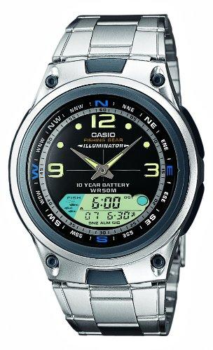 Casio CASIO Collection - Reloj analógico - digital unisex de cuarzo con correa de acero inoxidable plateada (luz, cronómetro, alarma) - sumergible a 50 metros