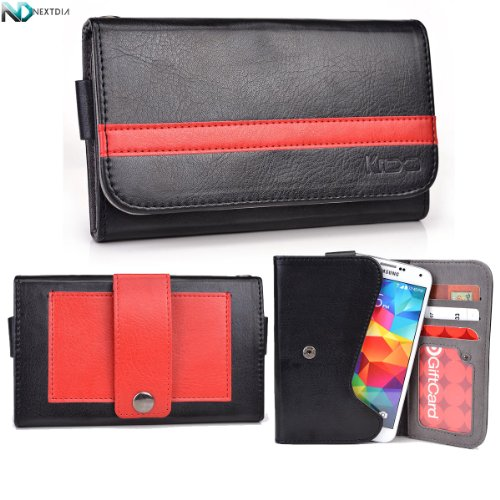 Allview A5 Quad Phone Wallet With Belt Attachment {Biker Theme / Black And Red} With Credit Card Holder