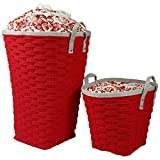 Laundry Hamper - Clothing Storage Bins with Handles - Laundry Baskets - Set of 2 - Clothing Hamper - Clothing Hamper - Laundry Hamper Kids - Laundry Sorter - (Red)