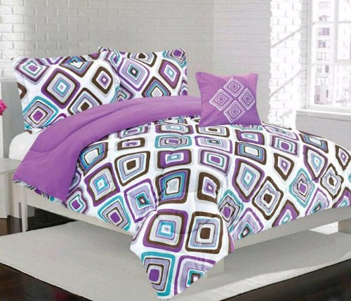 Multiple Size-Girls Kids Bedding- Santana Purple Comforter Set -Full