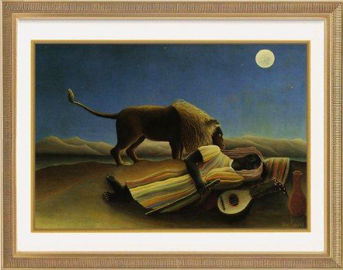 ルソー 「眠れるジプシーの女」 オリジナルアートポスター額 高画質 ジグリー刷 ゴールド版画額装 61x50cm