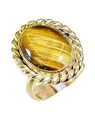 Riyo Brown Enthralling Tiger Eye 18.Kt Gold Platings Gimmal Ring Women 13 Gprtey6.5-80030