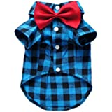 Soft Casual Dog Plaid Shirt Gentle Dog Western Shirt Dog Clothes Dog Shirt + Dog Wedding Tie Free Shipping,Blue,S