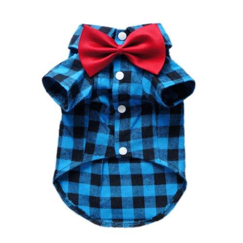 Soft Casual Dog Plaid Shirt Gentle Dog Western Shirt Dog Clothes Dog Shirt + Dog Wedding Tie Free Shipping,Blue,L