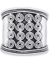 Ahilya Jewels .925 Sterling Silver Tribal Band Ring
