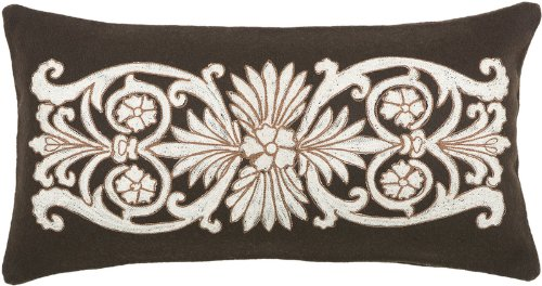 Rizzy Home T-3836 11-Inch by 21-Inch Decorative Pillows, Brown/Ivory, Set of 2