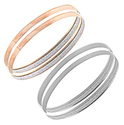 Sorella'z Combo of Double Circle Matte Silver & Golden Bangles for Women (Two Piece each)