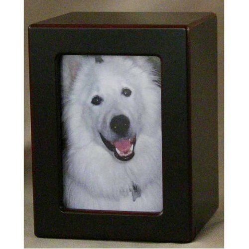 Pet Urn Photo Box Pet Urn Cherry Wood Finish {up to 40Lb pet}