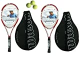 2 x Wilson N6.3 Hybrid Tennis Rackets L3 + Tube of Tennis Balls RRP £250
