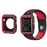 All-inside 42mm Black/Red Sport Band and Case Bundle for Apple Watch Series 1, Series 2, Series 3, Sport, Edition, M/L size