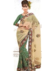 Exotic India Light-Green Bandhani Printed Sari With Patch-work And Embro - Green
