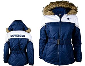 NFL- Dallas COWBOYS Ladies The Looker Jacket with Faux Fur Trim Hood~ MEDIUM by G 111