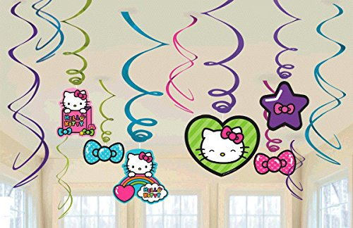 New Hello Kitty Rainbow Party Foil Hanging Swirl Decorations / Spiral Ornaments (12 PCS)- Party Supply, Party Decorations