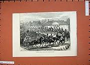 コサック人の軍隊の村の Falesti の 1877 頭の馬戦争の古い印刷物