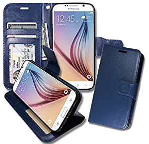 S6 [ Wallet ] Case, Samsung S6 Soft Leather Flip Cover with [ Foldable Stand ] Pockets for ID, Credit Cards, Kickstand Features (Blue)