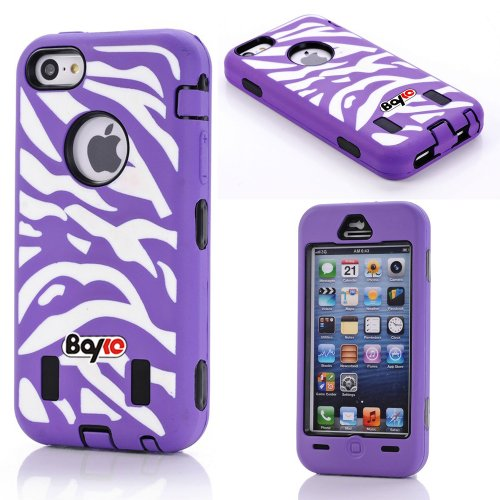 Bayke Brand Premium Armorbox Armor Defender Case for Apple Iphone 5C (5s & 5 Not Fit) Fashion Zebra Combo Print High Impact Dual Layer Hybrid Full-body Protective Case with Built-in Screen Protector (Purple) at Amazon.com