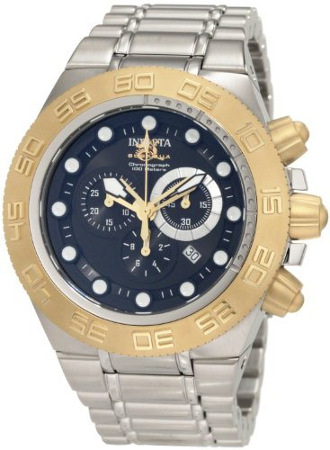 Invicta Subaqua Men's Quartz Watch with Black Dial Chronograph Display and Grey Stainless Steel Bracelet 1528