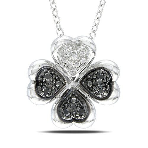 Sterling Silver 1/10 CT TDW Black and White Diamond Fashion Pendant (G-H, I3)