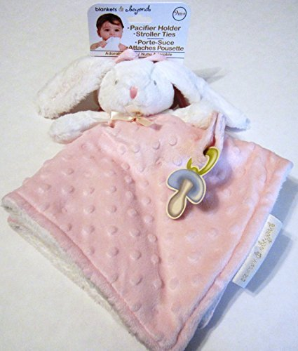 453bd4bbda Blankets   Beyond White And Pink Bunny Security Blanket With Pacifier  Holder And Stroller Ties By