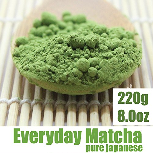 Everyday Matcha Green Tea Powder - Organic - Pure Japanese Uji Kyoto - Superior Daily Antioxidant Content - All Day Energy - Improved Health - Green Tea Lattes - Smoothies (8Oz)