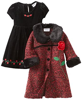 Blueberi Boulevard Baby Girls Infant Boucle Coat Set, Red, 18 Months