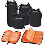 Lens Cases, K&F Concept Drawstring Neoprene Camera Lens Bags/Case Storage Package Sleeves Pouches + Foldable Filter Case Card Pouch Set for DSLR Camera Lens *Exclusive Velcro Belt* Design