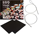 TeiKis - BBQ Grill Mat (2) and Skewer (2) - Heavy Duty Non-Stick Grill Mats and Flexible Grilling Skewers - Do NOT put the mat in direct contact with flames