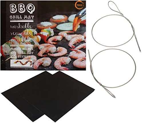 TeiKis - BBQ Grill Mat (2) and Skewer (2) - Heavy