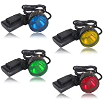 Gonex® High Power 5W OSRAM LED Hunting Mining Camping Headlamp Light with 4 Optical Filters (Red, Yellow, Green, Blue), Fit for Hog/deer/coon/coyote Hunting
