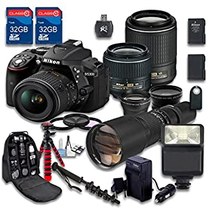 Nikon D5300 DSLR Camera + AF-S DX NIKKOR 18-55mm f/3.5-5.6G VR Lens + AF-S DX NIKKOR 55-200mm f/4-5.6G ED VR II Lens + 500mm f/8 Preset Lens + Accessory Bundle - International Version