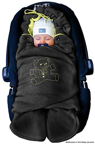 """ByBoom® - Copertina invernale avvolgente per il bebè """"l'originale con l'orsetto"""", universale per ovetto, seggiolino auto, p.es. per Maxi-Cosi, Römer, per passeggino, buggy o lettino, Colore:Antracite/Lime"""