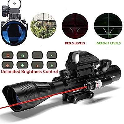 Ar15 Scope 4-12x50EG Dual illuminated Rifle Scope Optics & Red Laser & Holographic 4 Reticle Red and Green Dot Sight for 22&11mm Weaver/Picatinny Rail Mount (12 Month Warranty)