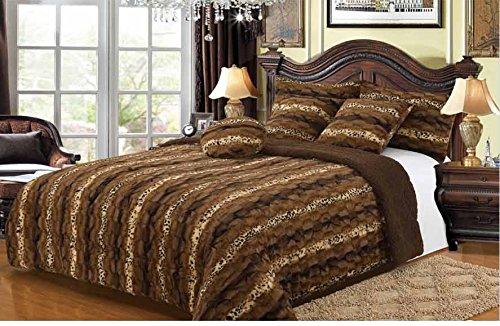 Safari Faux Fur Plush Throw Blanket Comforter - Leopard AK/AQ608 (6PC QUEEN)