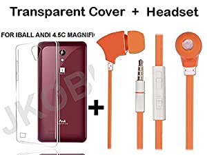 JKOBI(TM)Value Combo Of Soft TRANSPARENT Clear TPU Back Case Cover And In Ear Bud Earphones Mini Size Headset For iBALL ANDI 4.5C MAGNIFICO With 3.5mm Jack-ORANGE