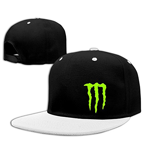 Custom Unisex Energy Claw Flat Brim Baseball Caps White (Monster Energy Necklace compare prices)